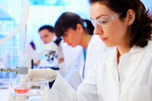 Scientists working in a chemical lab.