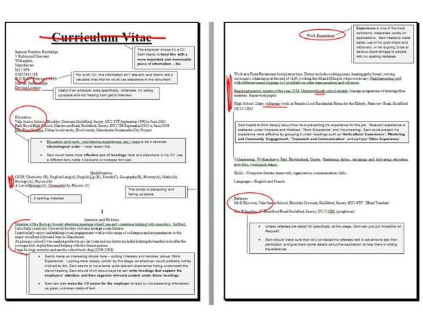 Sam's CV marked up