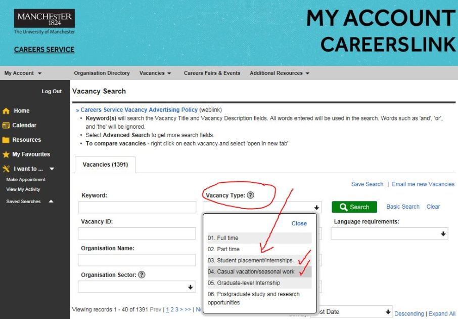Use CareersLink to search for summer jobs and internships